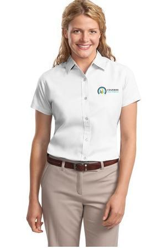 Port Authority Ladies Short Sleeve Easy Care Shirt L508 White//Light Stone 5XL